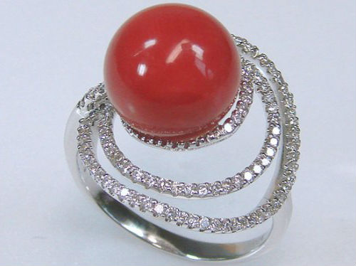 кольцо с кораллом Камень коралл