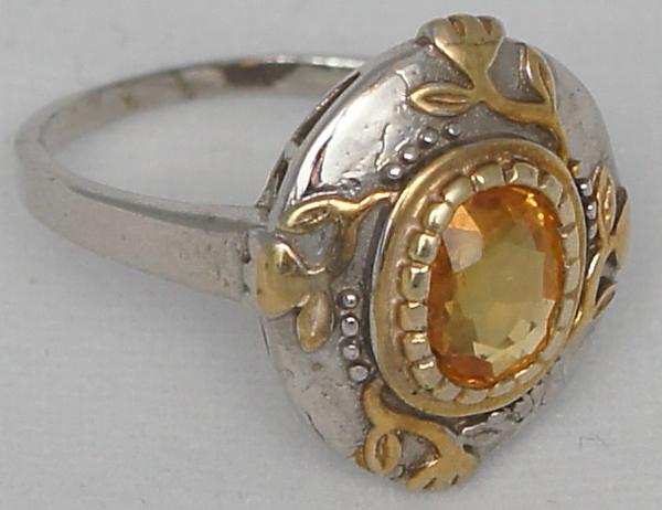 кольцо сапфир 2 Желтый сапфир