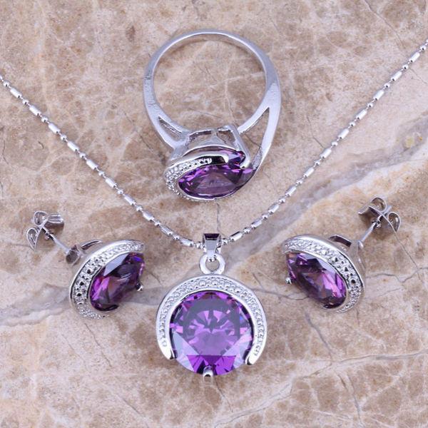 Украшения из серебра с фиолетовым аметистом Украшения из серебра с натуральными камнями