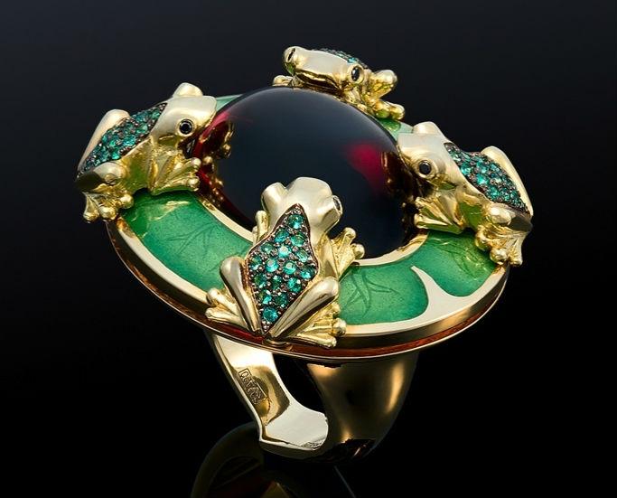 кольцо с разноцветными камнями Сочетание камней в ювелирных изделиях