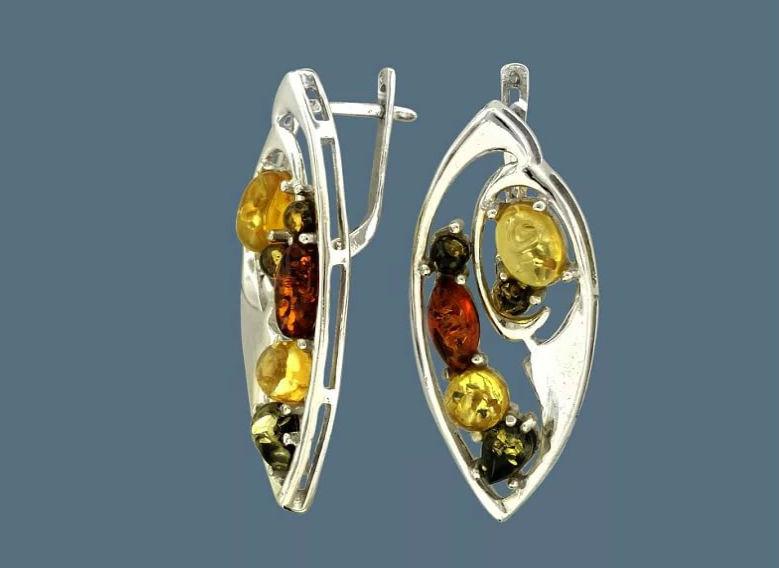 серьги из серебра с янтарем Серебряные серьги